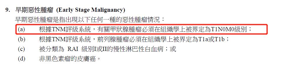 香港重疾险种T1N0M0级的甲状腺癌属轻症