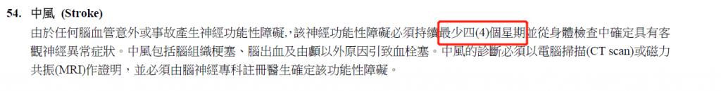 香港重疾险对脑中风后遗症定义