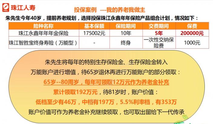 珠江永鑫年年年金保险百万保费可对接保险金信托